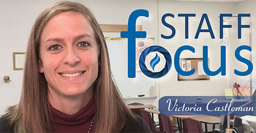 Photo: headshot of Victoria Castleman with staff focus logo in background and full name text in foreground
