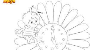 Coloriage - Maya L'abeille et la fleur horloge