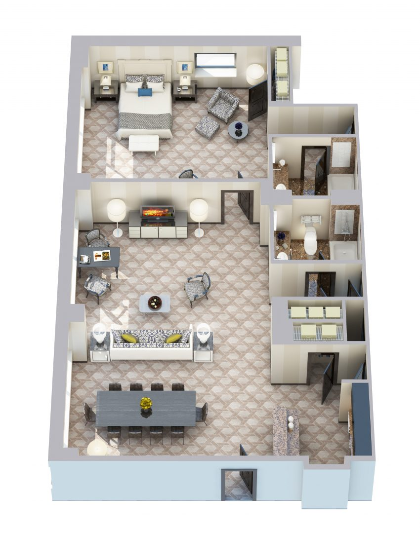 Deluxe Corner One Bedroom Suite - 1160 sq ft