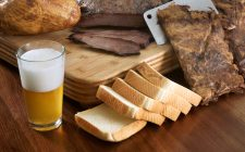 Beer and selection of bread and meats