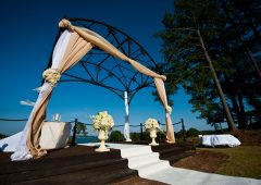 The beautiful Monarch arbor is the outdoor wedding venue for PineIsle Center