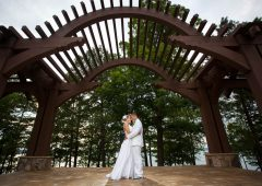 The beautiful wooden arbor at Legacy Pointe is like a fairytale wedding come true