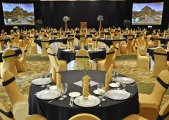Grand Ballroom may be elegantly dressed for an executive dinner
