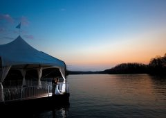 The Venetian Pier sits gently atop the blue waters of Lake Sidney Lanier
