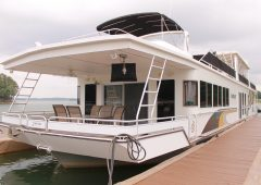 The Fantasy is a luxury houseboat available at Harbor Landing