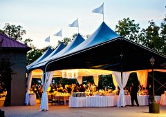 When you book Legacy Pointe, you'll be able to use the Pavilion and tent for your reception, which can be open or closed to the elements, and a bridal holding room adjacent to the reception area