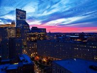 Boston Skyline and Sunset from Revere Hotel Boston Common Rooftop