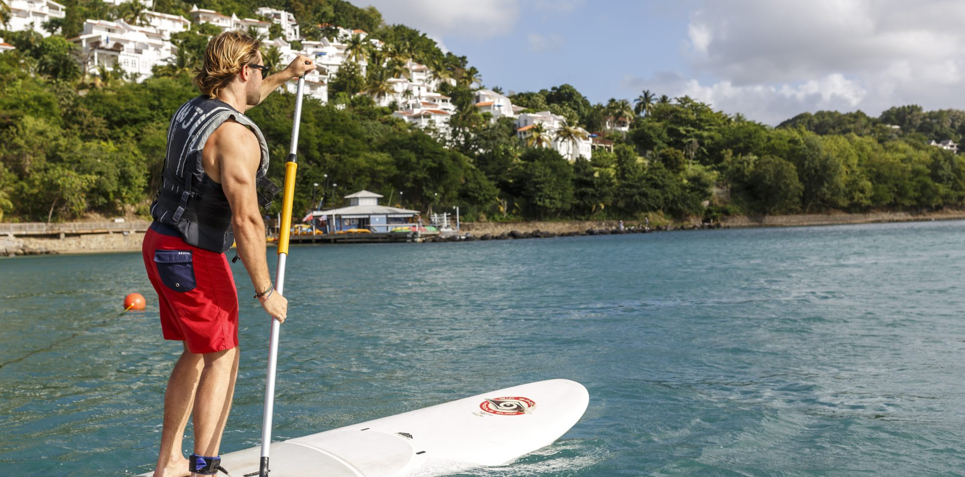 paddle boarding in St Lucia beach