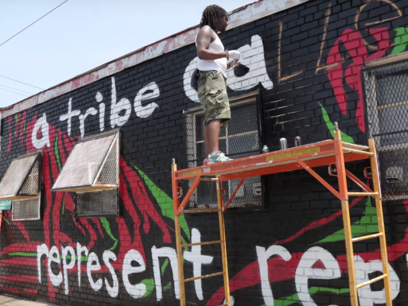 Mural painted in a tribe called quest 39 s honor in queens for Nas mural queens