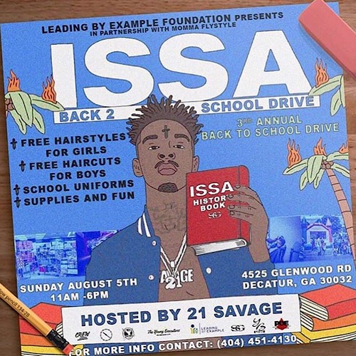 21 Savage Hosting Back To School Charity Event