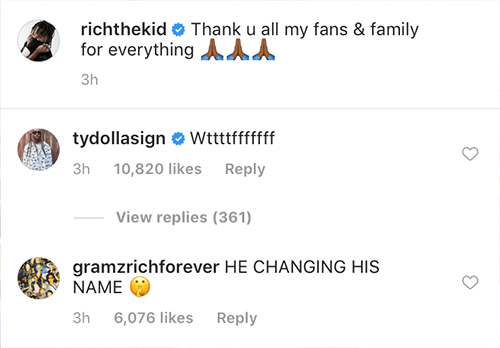 "Rich The Kid Posts Cryptic ""R.I.P."" Message On Instagram"