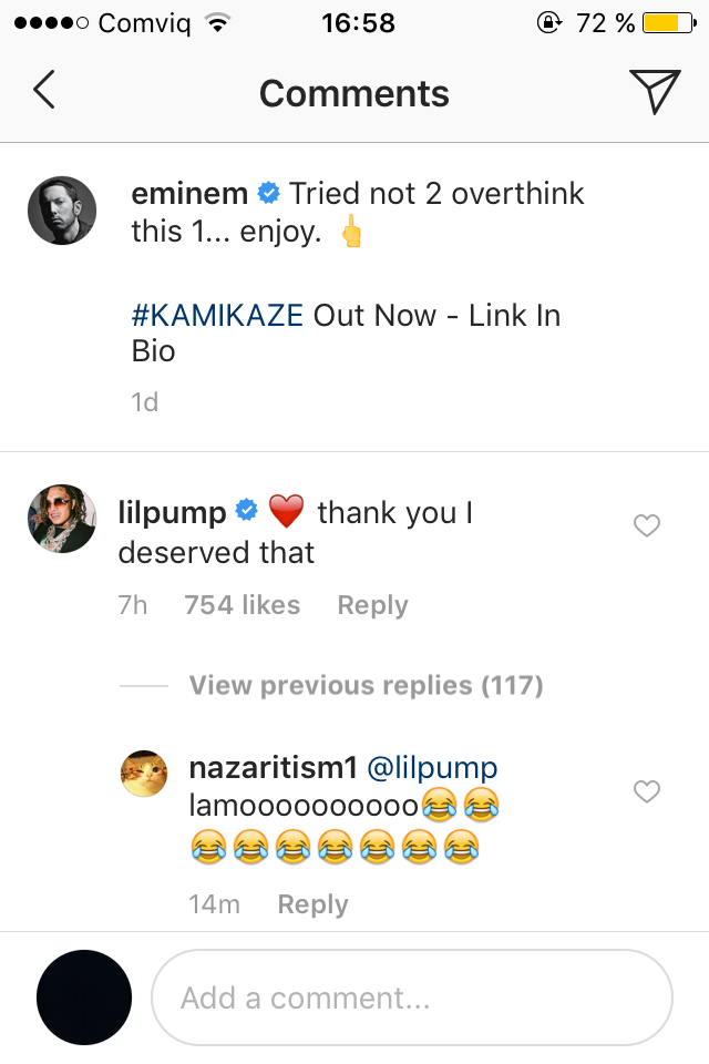 "Here's How Lil Pump Responded To Eminem's ""Kamikaze"" Diss"