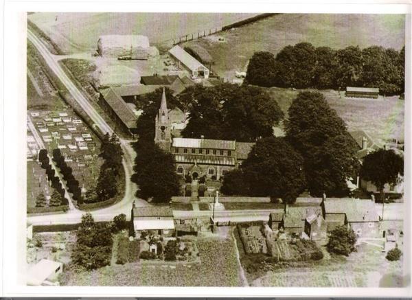 Aerial view of St Nicholas' church, Lutton