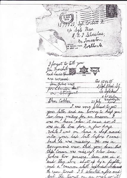 Letter to N. Corbett from fellow airman