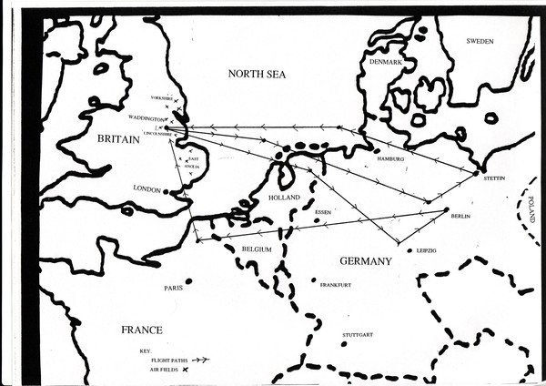 Flightpaths World War 2 England to Germany