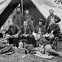 2D Restored photograph of general's outside tent in the American Civil War