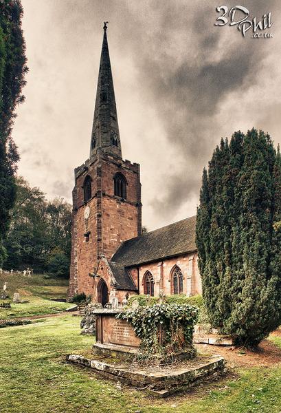 St Peter's Church, Worfield, Shropshire, HDR - Panoramic