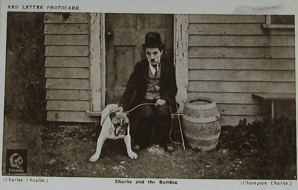 Charlie Chaplin Red Letter Photocard, Charlie and the Bulldog
