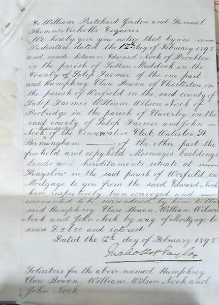 Edward Nock Letter to William Pritchard Gordon and Samuel Thomas Nicholls