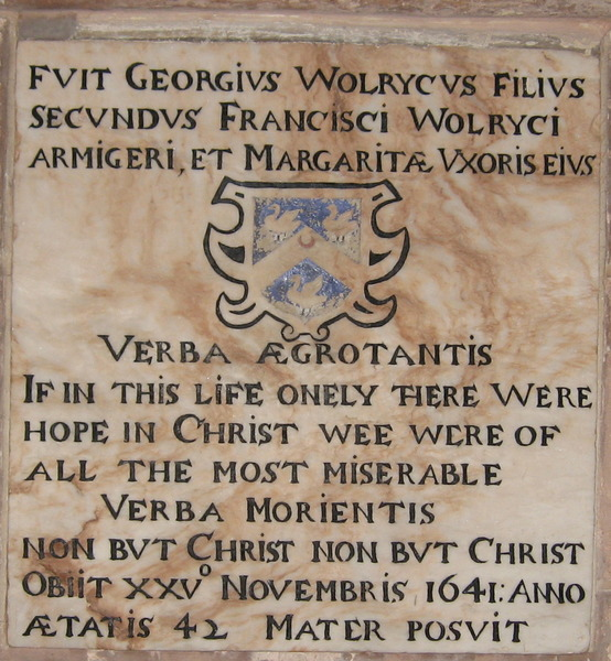 Plaque to George Wolryche