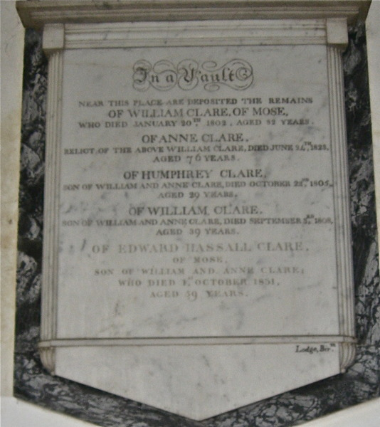 Plaque to the Clare family of Mose