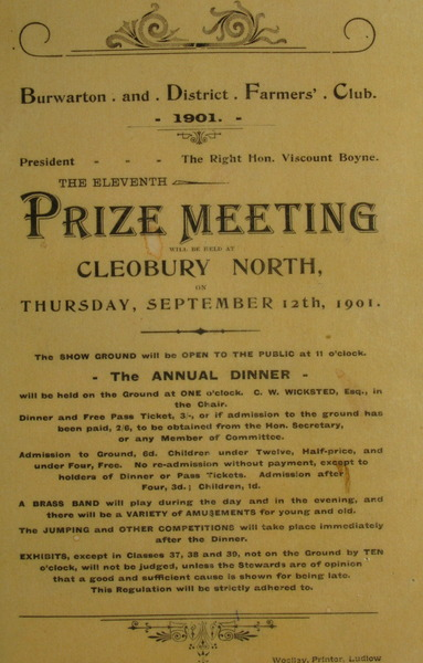 Prize Meeting Burwarton and District Farmers Club 1901