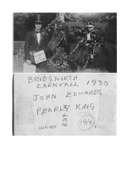 John Edwards as a Pearly King at Bridgnorth Carnival 1930