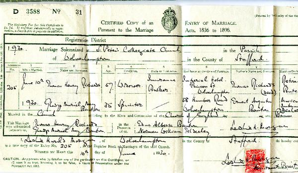 Marriage Certificate Gladys Banton