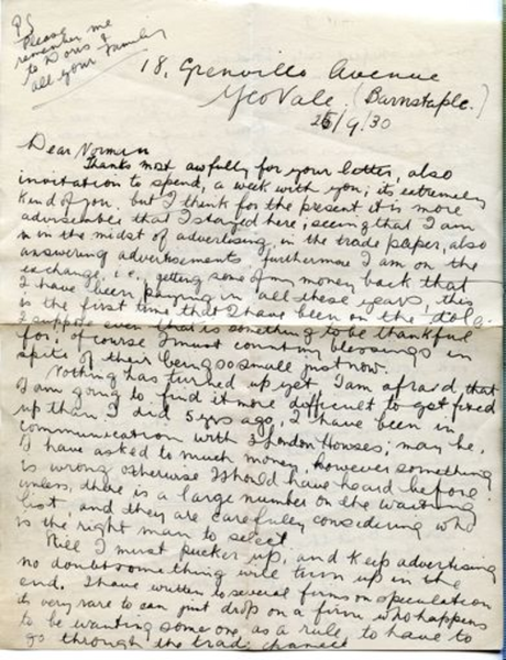 Letter from 1930