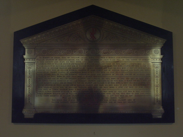 The Sparrow Memorial Tablet, St Johns in the Square
