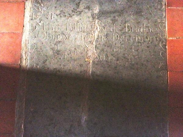 Grave of Thomas Billingsley of Bradney