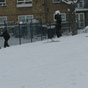 Snowball fight in Mabley Green,Homerton