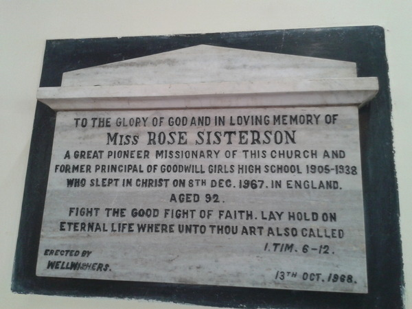 Stone plaque in remembrance of Miss Rose Sisterson