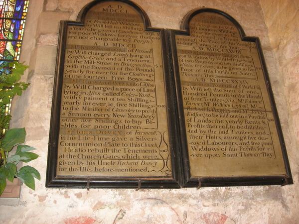benefactions board claverley church