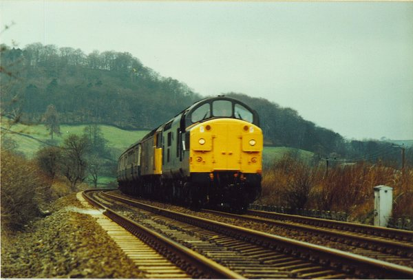 34104 + 47456 at Utley with a Leeds train