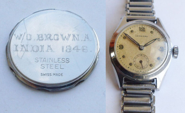 Ownership inscription on watch for Warrant Officer A. Brown India 1946