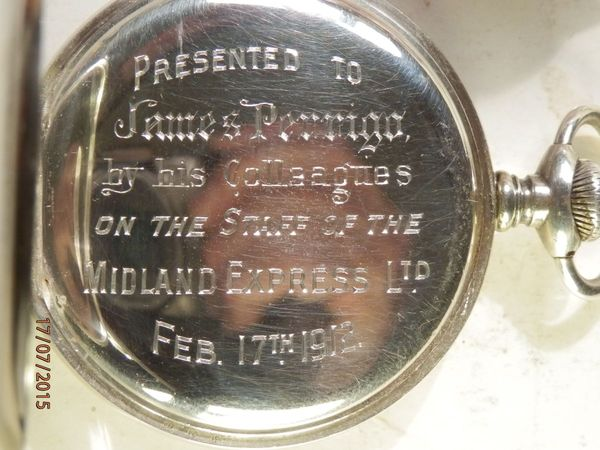 Watch Presented to James Perrigo by colleagues at the Midland Express