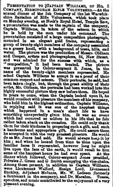 Captain Williams, Birmingham Rifle Volunteers