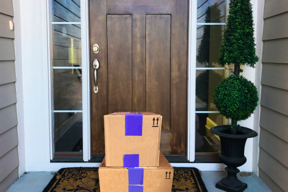 Shipping boxes on porch