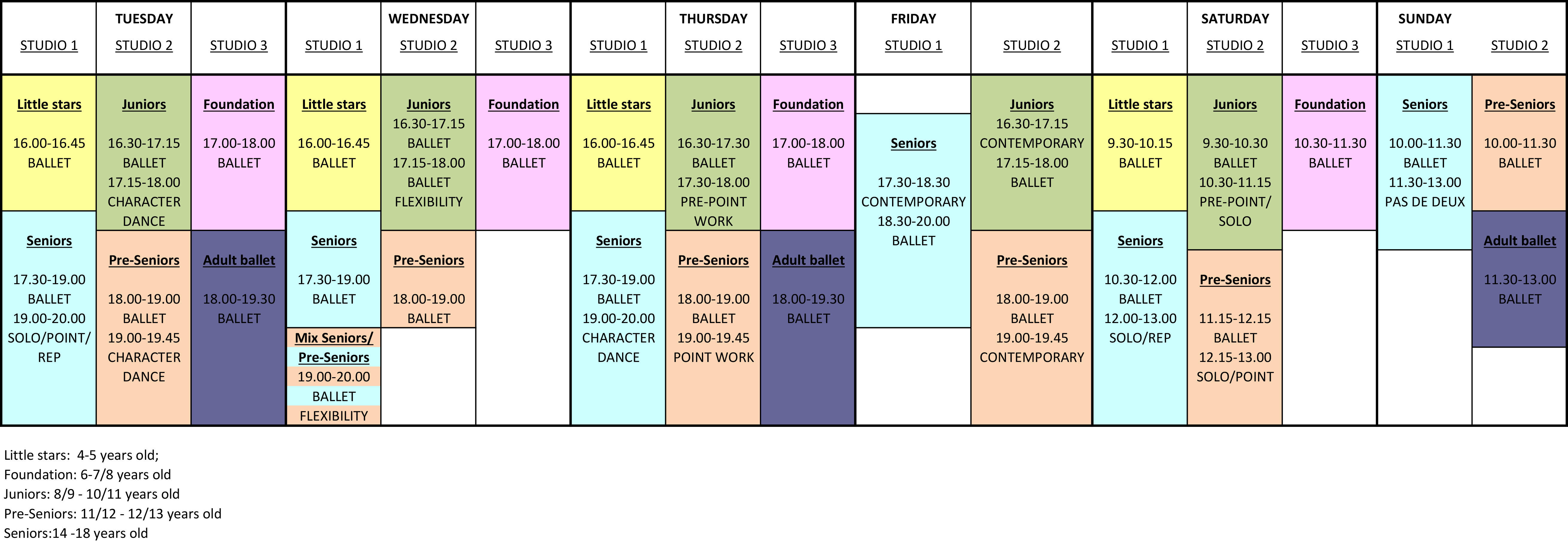 Masters of Ballet Academy Timetable September 2017