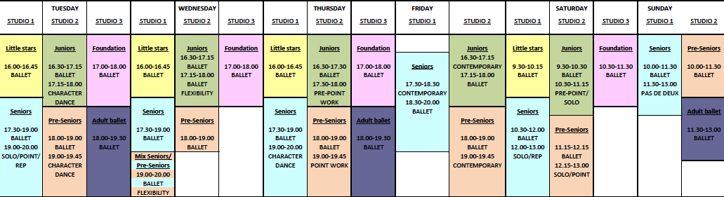 Masters of ballet Term Timetable