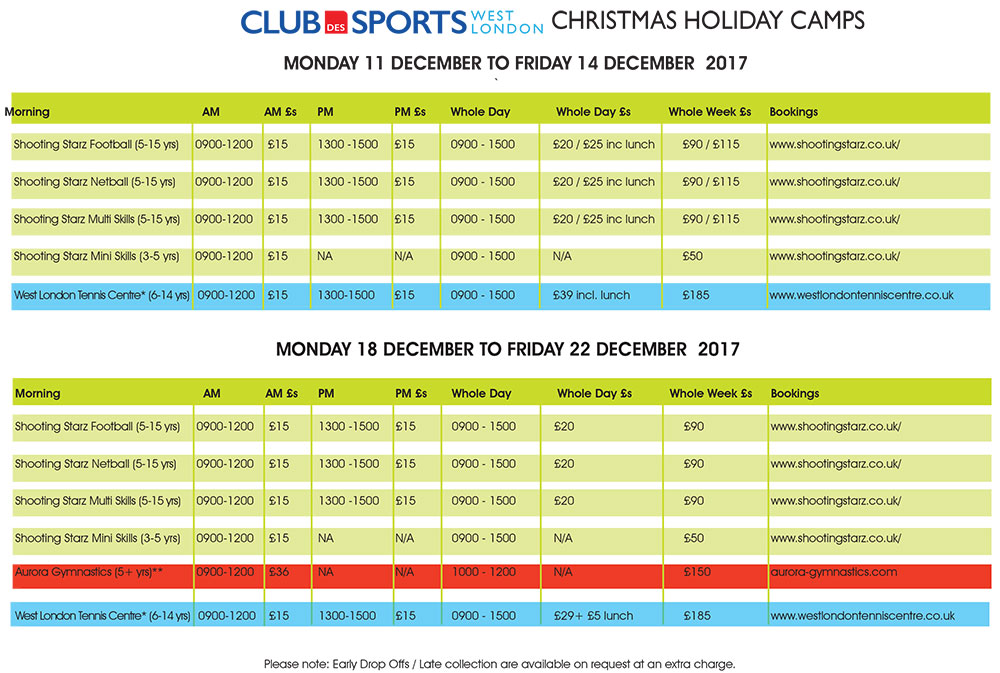 Christmas Camps Programme