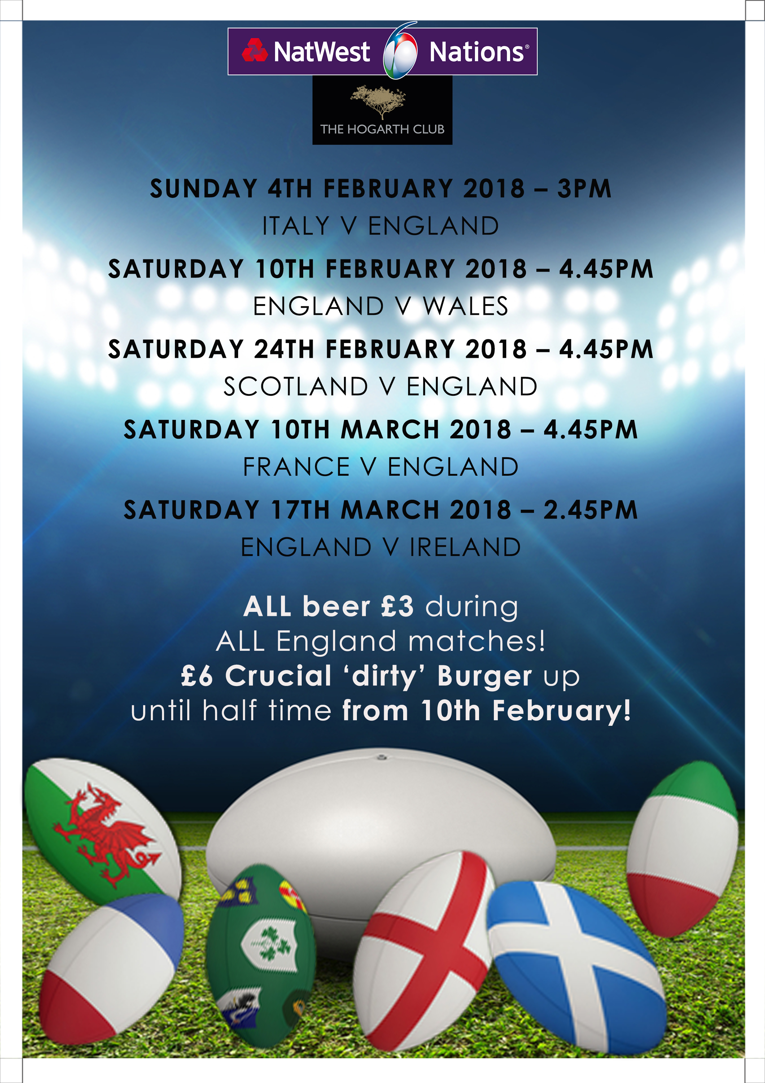 Six Nations Rugby watch at The Hogarth Club in Chiswick