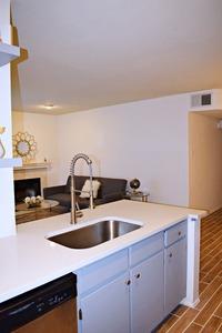 Kitchen facing living