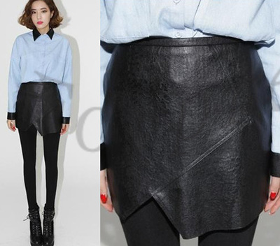 Women Sexy Faux Leather Retro High Waist Irregular Bodycon Mini Skirt