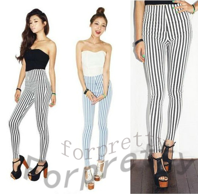 Sexy Black Blue High Waisted Striped Skinny Trousers Pants Leggings Tights