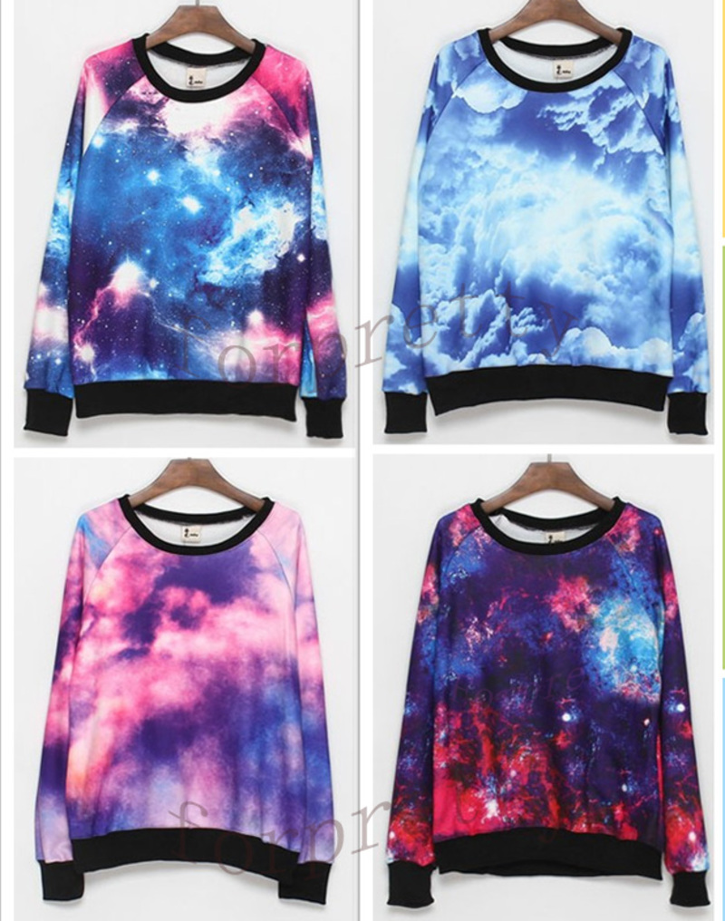Women-039-s-Galaxy-Space-Starry-Print-Flannel-Long-Sleeve-Jumper-Top-Round-T-Shirt