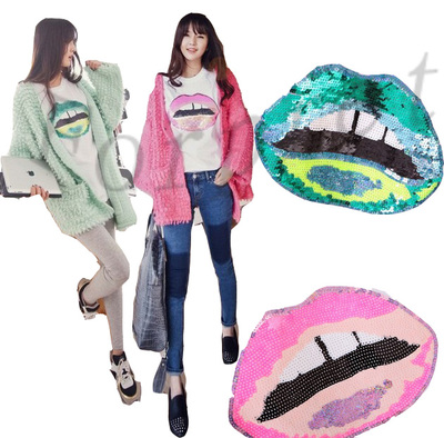 Sexy Neon Flouro Sequins Oversize Lip Mouth Baggy Scoop Neck Tee T-shirt