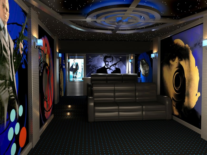 Cinema-inspired small home theater with large life-sized posters on the wall by 3D Squared.