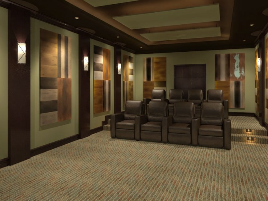 Large two-rowed home theater design by 3D Square Home Theaters.
